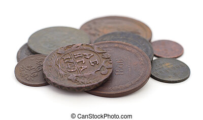 Coins of the Russian Empire isolated.