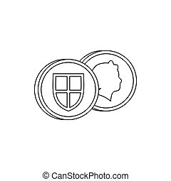 Coins of UK icon, outline style