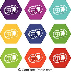 Coins of UK icon set color hexahedron