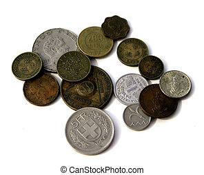 Old and foreign coins.
