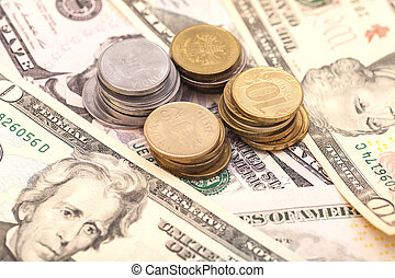 coins on banknotes