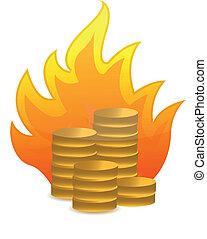 coins on fire illustration design