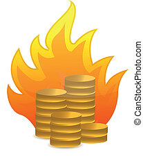 coins on fire illustration design