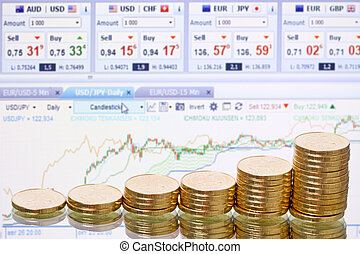 Coins on a blurred background stock ticker
