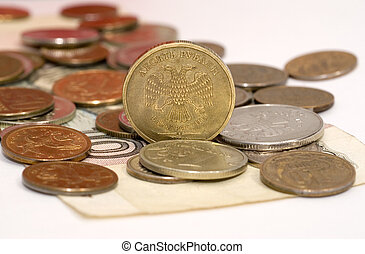 Coins on the banknote