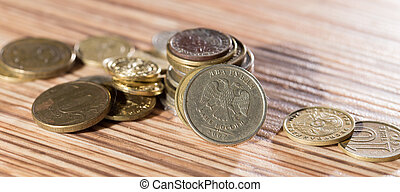 coins on the table. macro