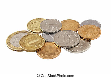 Coins on white background isolated