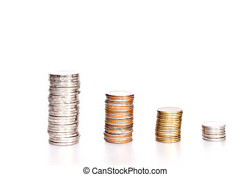 coins on white paper