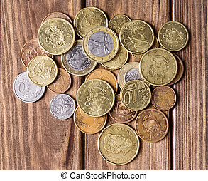 coins on wood background