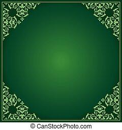 coins, -, ornement, vecteur, arrière-plan vert