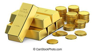 coins, oro, lingotes