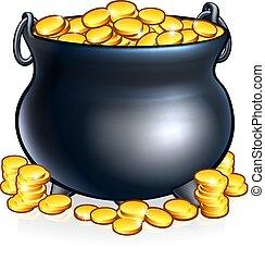 coins, oro, olla