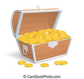 coins, pecho, lleno, madera, oro