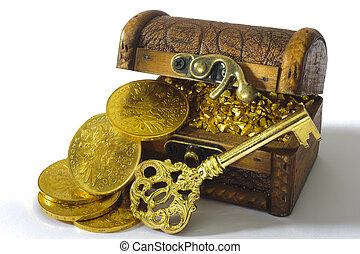 coins, pecho, tesoro, llave, oro