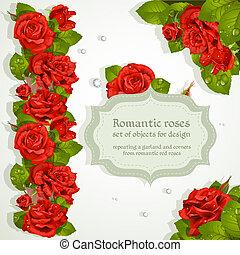 coins, répéter, guirlande, roses
