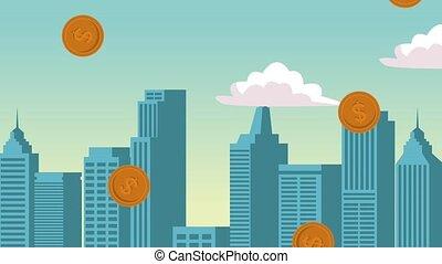 Coins raining at city HD animation - Coins falling down at...