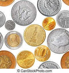 Coins seamless pattern