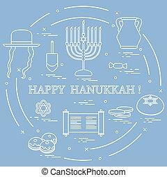coins, sivivon, dreidel, judío, rosquillas, otro., illustration:, vector, david, menorah, estrella, feriado, hanukkah: