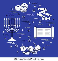 coins, sivivon, dreidel, judío, rosquillas, otro., menorah, feriado, hanukkah: