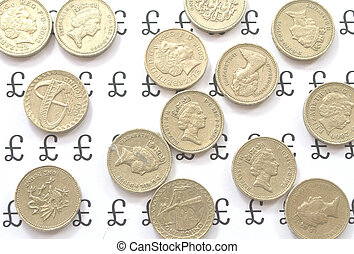 Coins spread out - Pound coins spread out evenly