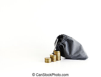 Coins stack and money bag Isolated on white background