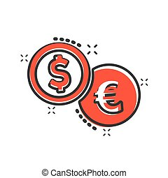 Coins stack icon in comic style. Dollar, euro coin vector cartoon illustration pictogram. Money stacked business concept splash effect.