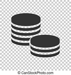 Coins stack icon in flat style. Coin cash vector illustration on isolated background. Money stacked business concept.