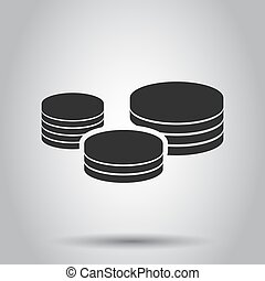 Coins stack icon in flat style. Coin cash vector illustration on white background. Money stacked business concept.