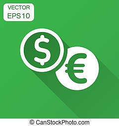 Coins stack icon in flat style. Dollar, euro coin vector illustration with long shadow. Money stacked business concept.