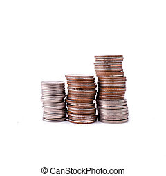 coins stack on white background