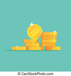 Coins stack vector, coin money stacked icon, golden penny cash