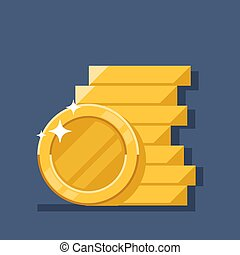Coins stack vector illustration. Flat coin money stacked icon. Golden penny cash pile, treasure heap isolated on color background.