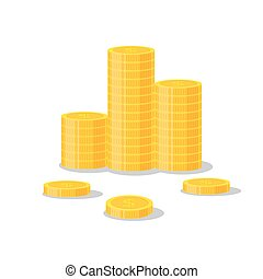 Coins stack vector illustration, icon flat finance heap, dollar coin pile. Golden money standing on stacked, gold piece isolated on white background - flat style