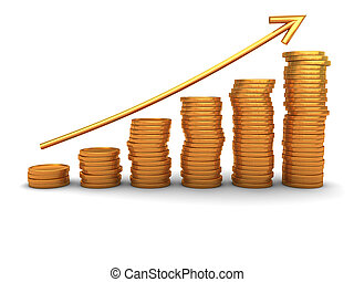 coins stacks - 3d illustration of raising coins charts with ...