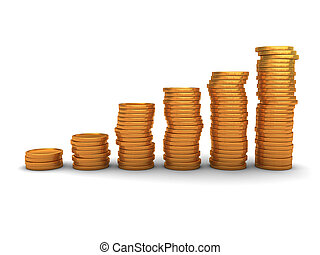 coins stacks - 3d illustration of raising coins stack over...