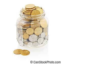 coins, tarro