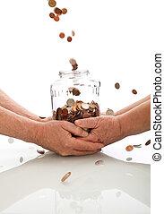coins, tarro, anciano, gracioso, manos de valor en cartera, ...