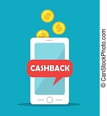 coins, teléfono móvil, oro, cashback