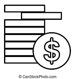 Coins vector Icon. Dollar coins. Flat line outline style. Black coins isolated on white. Eps 10