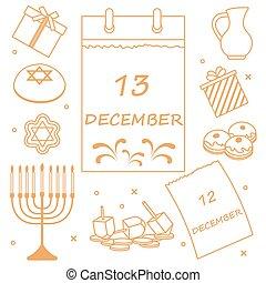 coins, vector, sivivon, dreidel, illustration:, menorah, rosquillas, otro., judío, calendario, regalos, feriado, hanukkah: