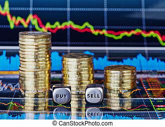 coins, venda, cubos, palabras, tendencia, gráfico, abajo, comprar, corta en dados, plano de fondo, pilas