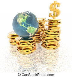 coins with 3D globe isolated on a white