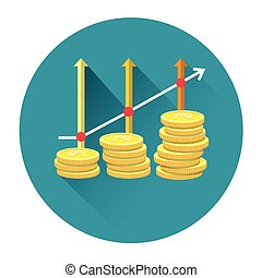 Coins With Arrow Up Financial Wealth Growth Concept Icon