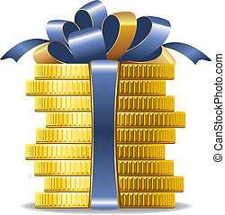 Coins with red bow - Stack of coins with a bow. Concept of...