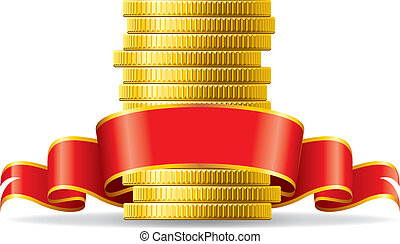 Coins with red bow