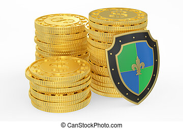 coins with shield, financial insurance and business stability concept. 3D rendering