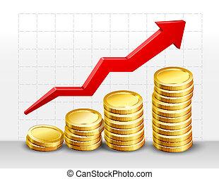 Coins with success arrow