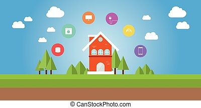 coisas, ícone, internet, esperto, casa