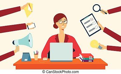 coisas, ao redor, mãos, estilo, caricatura, apartamento, escrivaninha, mulher segura, senta-se, negócio