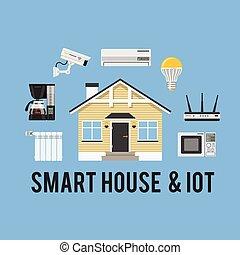 coisas, conceito, internet, esperto, casa